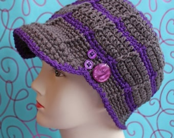 PATTERN - Brimmed Button Beanie - Free International Shipping