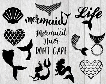 Mermaid svg bundle, mermaid clipart, mermaid hair don't care svg, mermaid tail svg, cut files for cricut silhouette, png, dxf, eps