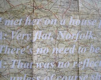 635 : Norfolk - Very Flat - Noel Coward quote printed on Vintage Map - limited edition screenprint