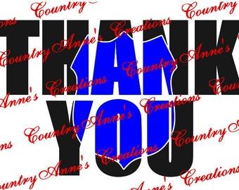 """SVG PNG DXF Eps Ai Wpc Cut file for Silhouette, Cricut, Pazzles  - """"Law enforcement Thank you knockout"""" svg"""