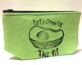 Hand Printed Avocado Cosmetic Bag