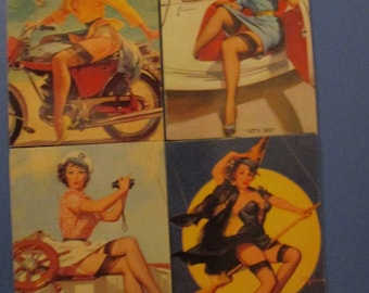 4-PINUP GIRL MAGNETS Gil Elvgren PinUp Girls Refrigerator Magnets Great Gift Idea Stocking Stuffers