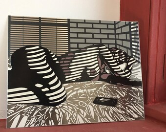 "Title: ""iSleep"" Noir Nude Woman 8 1/2 x 11 inch Print on Aluminum"