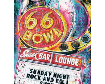 66 Bowl - Neon Sign - 12 x 18 High Quality Art Print
