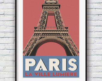 Paris Wall Art, Paris Print, Travel Poster, Retro Poster, Paris Poster, Eiffel Tower Print, Vintage Poster, Paris Decor, Travel Print