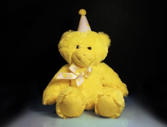 Teddy Bear, Birthday Bear, Stuffed Animal, Plushie, Yellow, Beverly Hills, Fluffy, Soft, Small Bear, Sitting Bear