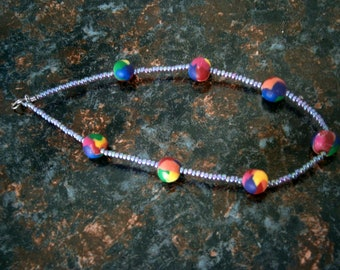 Beaded Ankle Bracelet Seed Beads in Violet with Polymer TieDye Beads, 9+ inches, Willow Glass