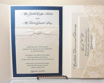 Lace Wedding Invitations, Lace Wedding Invite, Wedding Invitations, Wedding Invite, Floral Invite, Vintage Invitation HAYLEY - BLOOM NAVY