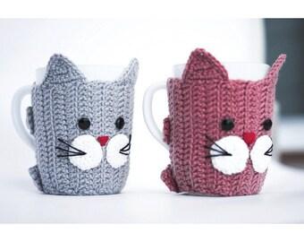 2 Crochet Mug Cats, Mug Warmers, Cup Cozy, Cup, Buttoned Mug Seater, Crochet Mug, Crochet Heart, Mug Heart
