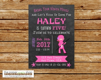 Ninja Invitation | Pink Ninja Birthday Invitation | Girl NInja Party | Birthday Invitation for Girls | Pink Ninja Invite