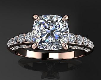 natasha ring - 1.7 carat cushion cut NEO moissanite engagement ring