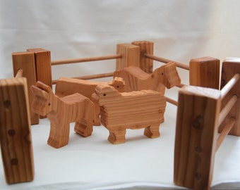 Farm animals with fence - wooden farm - wooden farm toy - wooden farm set - wooden fence toy - waldorf toy - wooden animals set - ce tested