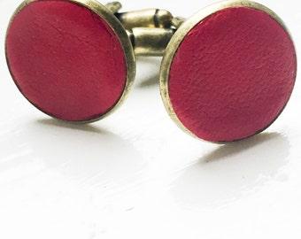 Dark Red Leather cufflinks | Wedding Cuff links Groom | Gift for men l Groomsmen cufflinks | Valentines gift