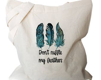 Market Bags - Grocery Canvas Bag - Market Canvas Tote Bags - Grocery Bags - Funny Tote Bags - Feather Canvas Totes