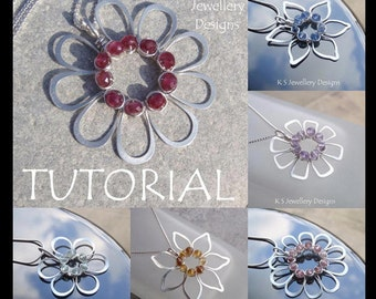 Wire Jewelry Tutorial - JEWELLED FLOWERS (4 variations) - Step by Step Wire Wrapping Wirework Instructions - Instant Download