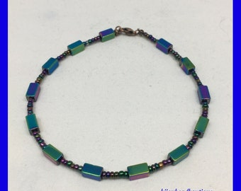 Rainbow Titanium Anklet, Rainbow Seed Beads, Rainbow Titanium Ankle Bracelet, One of a Kind, Unique Gift Ideas, Birthday gift