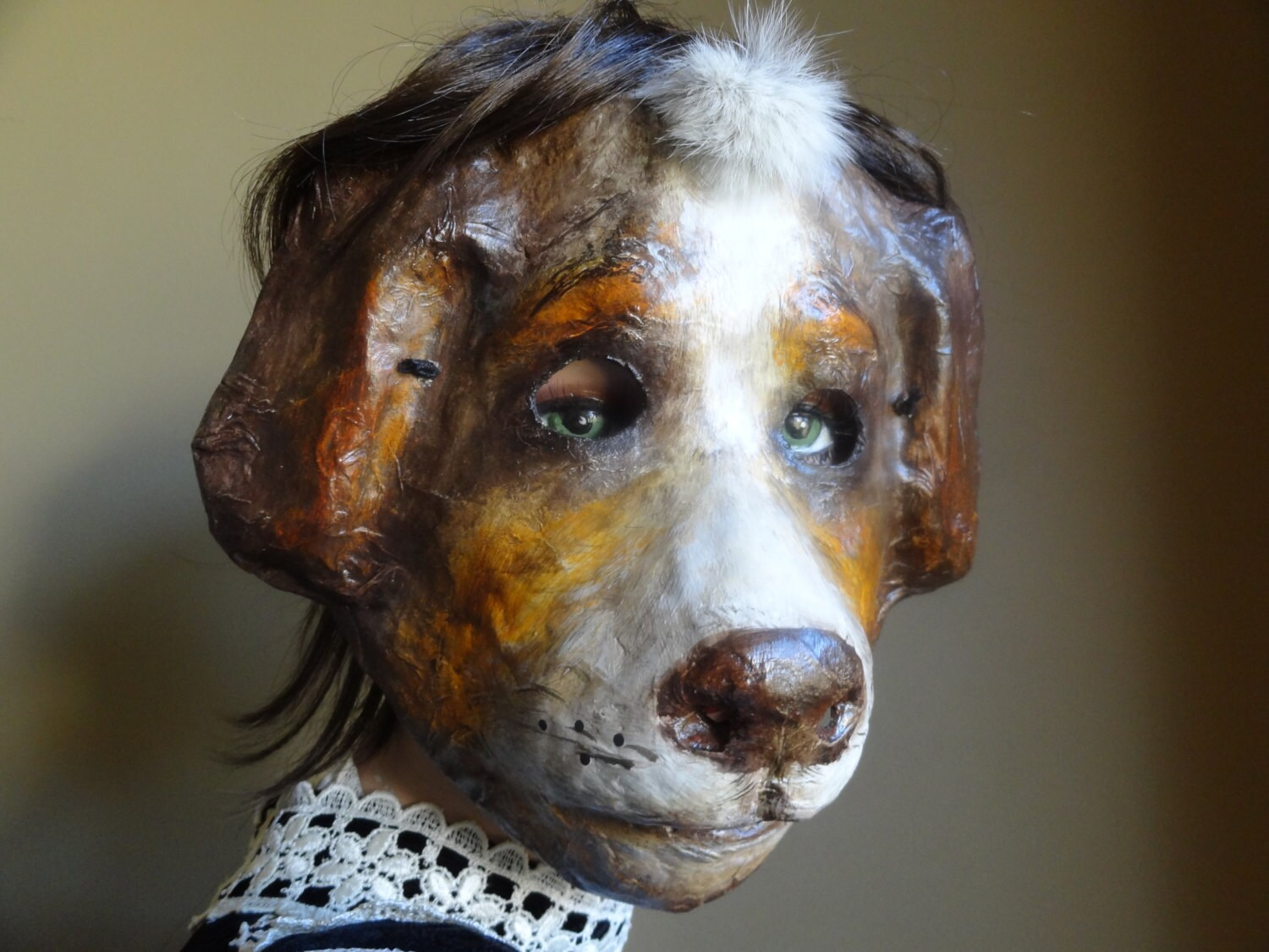 ?zoom & 3D Mask Paper mache papier mache dog mask animal mask