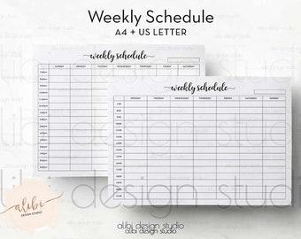Weekly Schedule, Hourly Planner, Weekly Planner, A4 Printable, Weekly Printable, Printable Planner, Daily Planner, Weekly Calendar