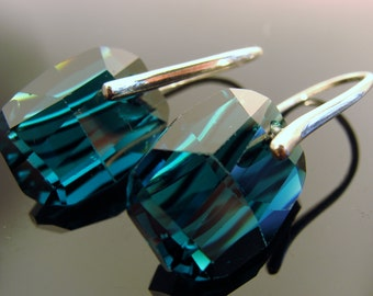 Swarovski Crystal Emerald Green Sterling Silver Earrings