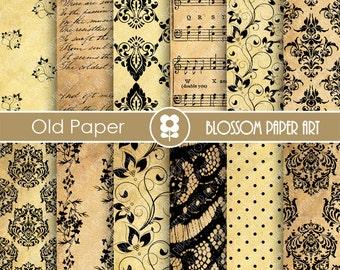 Old Paper Digital Paper, Wedding Digital Paper. Old Digital Paper, Damask, Wedding, Scrapbooking - INSTANT DOWNLOAD  - 1717