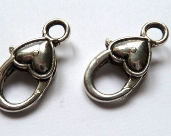 2 Large Silver Lobster Claw  Heart Clasps