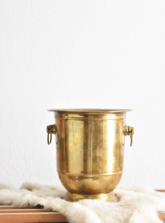 mid century solid brass ice bucket | hollywood regency wine cooler | planter container with handles | barware gift