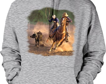 Ropin on the Ranch, Cowboys, Cowgirls Hooded Sweatshirt, NOFO_00393