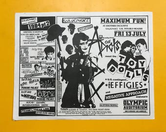The Adicts 1984 vintage flyer