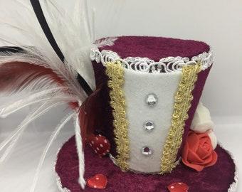 Alice In Wonderland Queen Of Hearts Mini Top Hat Fascinator