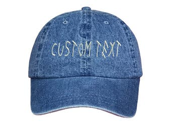 Custom Dad Hat Embroidered, DRIZZY FONT, Champagne Papi, Your text Here Personalized Custom Baseball Cap, Choose Your Text, Light Denim