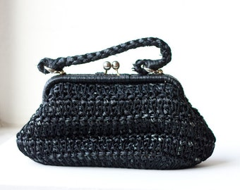 Vintage straw macrame purse, T. A. Chapman, black faux straw and string handbag, made in Italy