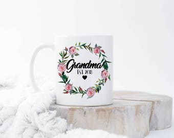 Custom New Grandma Mug, Grandma EST Mug, New Grandma Gift, Grandma To be, New Nana Gift, Pregnancy Announcement, New Grandma Present