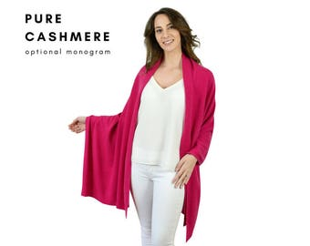 Fuchsia pink large 180 x 70cm pure cashmere travel wrap shawl stole in gift box