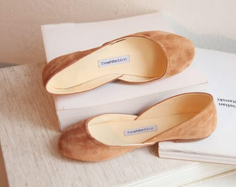 Cinnamon Suede Ballet Flats | Women's Flat Leather Shoes | Pointe Style Shoes | Classic Model | Standard Width | Cinnamon | Ready to Ship