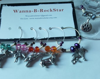 Dog Lovers - Year of the Dog THEMED SET - Wine Charms or Drink Tags