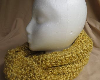Crocheted Yellow Infinity Scarf