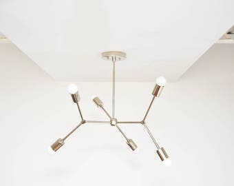 Modern Geometric Tree Branch Polished Nickel Chandelier Pinwheel Bulb Sputnik Mid Century Semi Flush Industrial 6 Light UL Listed