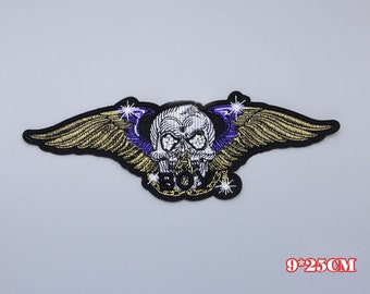 Big Flying Skull Wings Embroidery Patch,Skull Embroidered Badge,Jacket Patch,Blazer Patch,Horrible Skull Applique,Jeans Pants,Skull Shirt