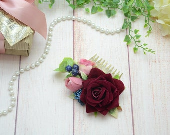Burgundy blush flower comb, Maroon rose comb, bridal comb, Bridal hair accessory, Wedding flower comb, Bridal flower comb, Floral comb