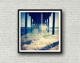 Huntington Beach Pier Photography - DIGITAL DOWNLOAD - California Beach Artwork Splashing Waves on the Pier Stock Photos for Bloggers