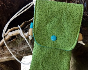 Green vine phone pouch, cellphone carrier, green fabric phone pouch, green and blue phone sling with wooden bead, cellphone holder,crossbody