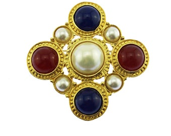 Large Gold Maltese Cross Brooch, Gold and Pearl Maltese Cross Brooch, Gold Cross Brooch
