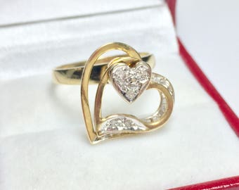 Vintage Spinning Heart Diamond Ring, 14KT Yellow Gold Diamond Ring, Rotating Heart Ring, Sweetheart Ring, Love, Valentines Day