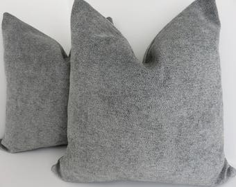 Grey Chenille Pillow Cover- Chenille Pillow Cover- Accent Pillow covers