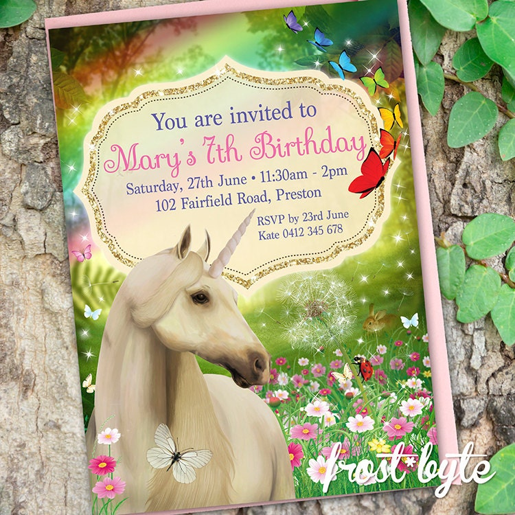 Unicorn Custom Party Invitation digital file made with your
