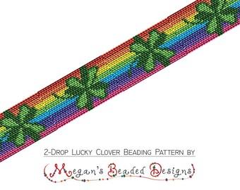 Beading Pattern - 2 Drop Lucky Irish Clover Rainbow Peyote Bracelet PDF