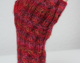 Hand knitted wrist warmers/fingerless gloves in pure wool
