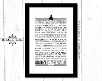 Walt Disney - Words - Quotes & Lyrics Typography Print - PRINT