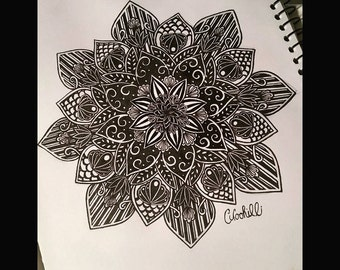 black n blue Mandala art