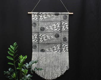 Large Comet Block Printed Fringe Wall Hanging